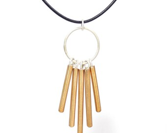 WINDCHIME Necklace Bronze, Copper, or Sterling Silver Pendant, Brushed Finish, Dangle, Gift for Her, Geometric, Unusual Jewelry