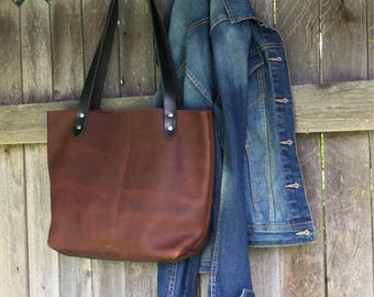 Full grain oil tanned leather tote . Brown leather handbag . hand stitched purse . kodiak hand bag. riveted leather straps . shopper tote