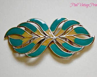 Awesome vintage teal and tan belt buckle