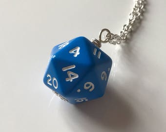 Blue d20 dice pendant dnd gift dungeons and dragons pendant christmas gift for him dice pendant dungeon master stranger things D20 pendant