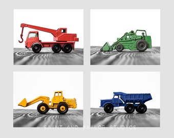 Set of Four Construction Digger Photo Prints in Primary Colors on White and Grey , Boys Room decor, Construction Trucks