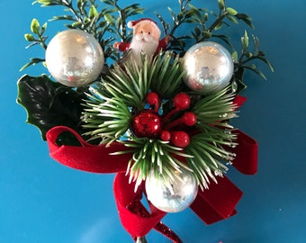 1950's Old Hollywood Glam Christmas Party Corsage With Santa Claus