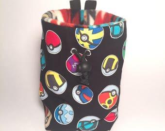 Pokeball Print, Pokemon Rock Climbing Chalk bag, Phone Pocket Opt, Zero Waste