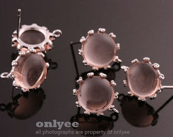 1pair/2pcs-10mm Rhodium plated Brass,Faceted Round Glass Earring, post earrings-Peach(M340S-F)
