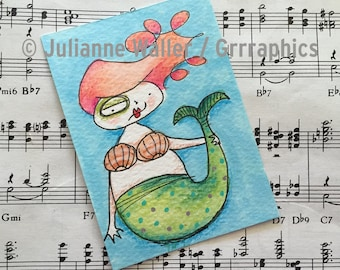 watercolor mermaid ACEO / ATC original