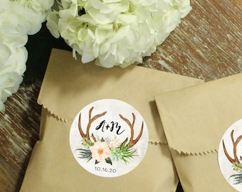 24 Paper Favor Bags - Antler | Wedding Favor Bags | Bridal Shower Favor Bags | Kraft Favor Bags | Baby Shower Favor | Bohemian Floral Labels