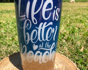 Life is Better at the Beach Tumbler-Beach Custom Cup-Beach Themed Stainless Steel Tumbler-Personalized Beach Themed Cup