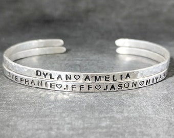 Sterling Silver Name Bracelet, Mom Bracelet with Kids Names, Mother Gift, Personalized Bracelet Children's Names, Family Name Cuff Bracelet