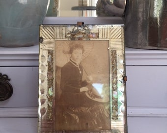 Antique Victorian Handmade Silver Glass Abalone Shell Gemstones Photo Frame with photo of a lady 1850s