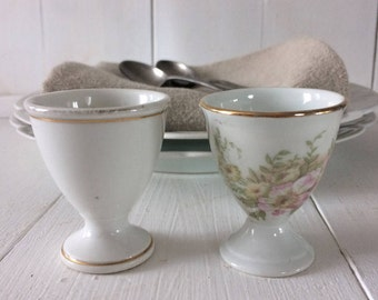 Porcelain egg cups, 1950s 2 French antique egg cups, vintage white egg cups, French shabby chic, vintage tableware, French vintage porcelain