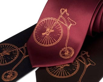"Antique Bicycle necktie. Vintage hiwheel bicycle ""Penny Farthing"" Victorian design satin mens tie. Gift for bike enthusiasts, history buffs"