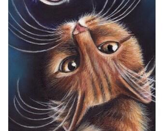Orange Tabby Cat Portrait Original Painting 7x5