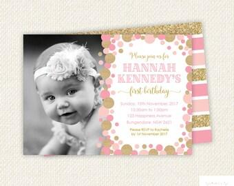 Pink Gold First Birthday Invitation, pink gold first birthday, girl first birthday invitation, boy birthday invitation, pink gold invite