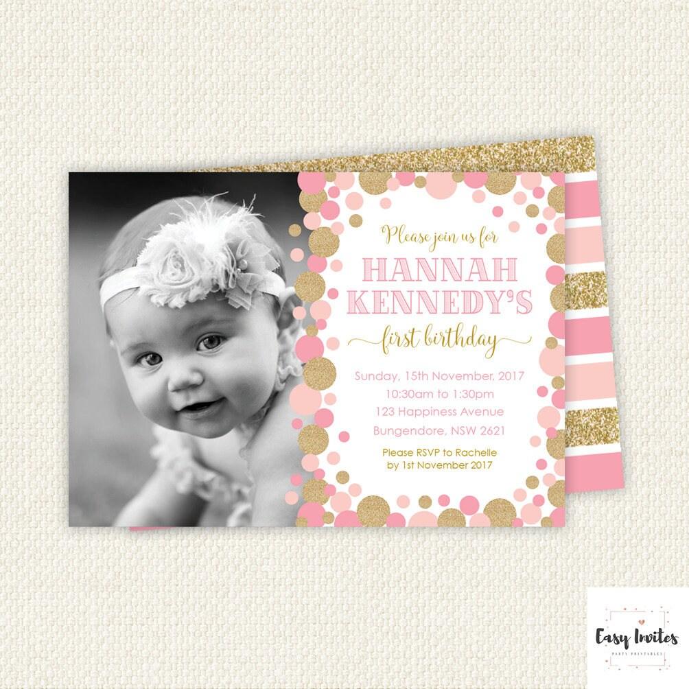 Pink Gold First Birthday Invitation pink gold first birthday