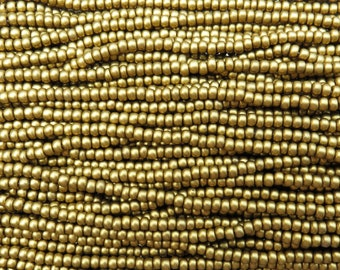 6/0 Metallic Brass Czech Glass Seed Bead Strand (CW199)