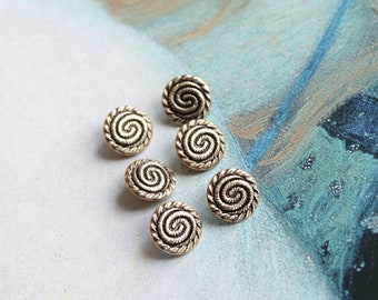 """6 buttons of shirt 13 mm, 1/2 """"snail-shaped, metal gold blouse, hobby, textile arts, 130"""
