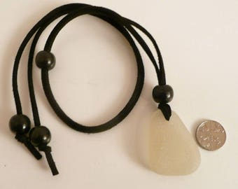 Large Natural Surf Tumbled Sea Glass Beach Pendant Necklace w