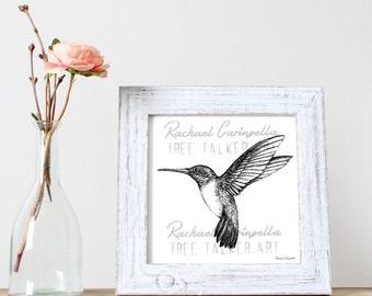 Humming Bird Art- Giclee Fine Art Print - Pen and Ink Illustration - Humming Bird llustration