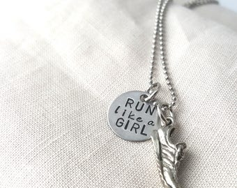 RUN LIKE A GIRL,  track necklace, Marathon necklace, running jewelry, running necklace, sole sister,marathon necklace,  marathon jewelry,xc