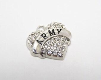 Heart Army charm, Rhinestone, Army jewelry, 20 X 20mm, America day, Memorial Charm