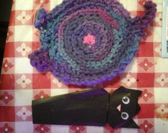 Crocheted cat butt coasters