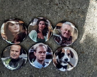"Magnets or Buttons:  2.25"" 58MM Frasier Magnets or Pinbacks Set of 6 Frasier TV Show"