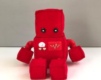 Felt robot softie - red