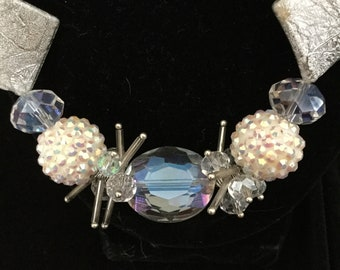 """Crystal and White  20.5"""" Necklace and Earring Set"""