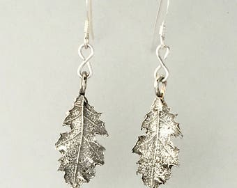 Red Oak Silver Dangle Earrings; Autumn jewelry; Nature inspired