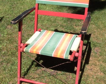Lot of Two Vintage Folding Wooden Canvas Camp / Beach Chairs