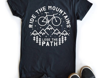 Bike Mountains Hiking Shirt Graphic Tee Gift Ideas Gift For Mom Gift For Her T-shirts Tees Adventure Shirts Womens Tee Gift For Sister