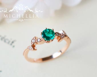 Petite Floral Ring in Lab Emerald, Lab Emerald Leaf Engagement Ring, Available in 14K Gold, 18K Gold, or Platinum, R2002