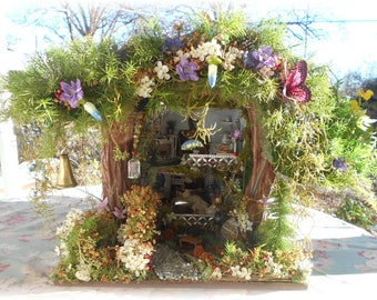 Willow Bloome,Handmade,Hand Sculpted,Fairy Garden,Fae,Faerie,Mary's Forest Woodland Cottage Dollhouse,One of A Kind,Shipping Included