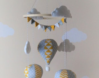 Hot air balloon nursery mobile mustard/yellow/orange/mint/pink grey white MADE TO ORDER