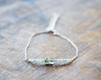 AQUAMARINE BRACELET WithTourmaline March Birthstone BAR bracelet, Crystal, Gemstone Bar bracelet, March Birthday, Gift for Her, Dainty
