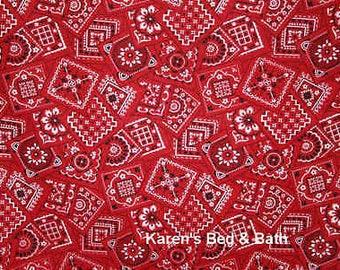 Western Cowboy Cowgirl Red Bandana 100% Cotton Fabric BTY Half Yard w5/18