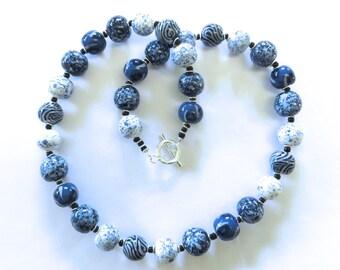 Kazuri Bead Navy Blue/Inky Blue and White Beaded Necklace, Ceramic Jewelry, Kazuri Bead Necklace, Statement Necklace