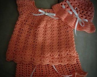 12 month Tangerine 3 piece Short Set