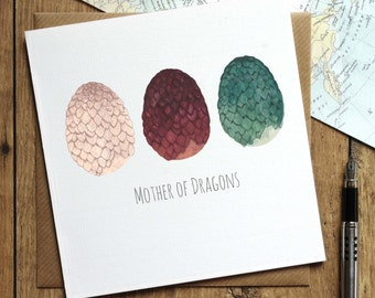 Game of Thrones Birthday Card, Mother of Dragons Card, Mum Birthday Card, Mothers Day Card, Daenerys Targaryen, Dragon Egg Card, Mum Card