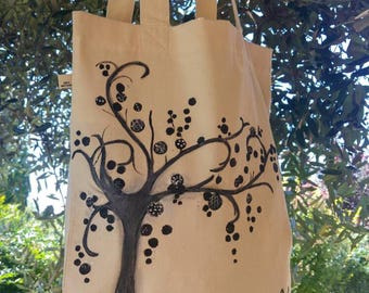 Bag for life-free shipping-tote bag hand-painted life-birthday friend of nature-gift Art Mom
