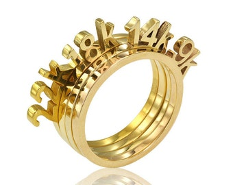 22K 18K 14K 9K Solid Gold Rings, Unique Gold Rings, Four Stackable Rings, Unique Band, Geometric Gold Rings, Solid Gold stacker, Gold rings