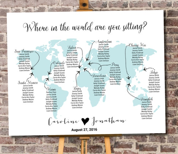 World map seating chart printable digital personalized file like this item gumiabroncs Choice Image