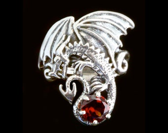Dragon Ring Silver Magic Dragon Ring With Gemstone Dragon Jewelry Sterling Silver Dragon Game of Thrones Inspired Jewelry Large Dragon Art