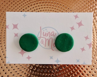 Glitter Green Stud Earrings