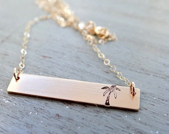 14kt Gold Bar Necklace with Palm Tree. Hand Stamped Jewelry.  Minimalist, Engraved Necklace.  Layering Bar Necklace. Ready to Ship. Nautical