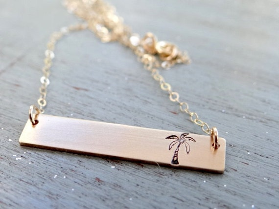14kt Gold Bar Necklace with Palm Tree Hand Stamped Jewelry