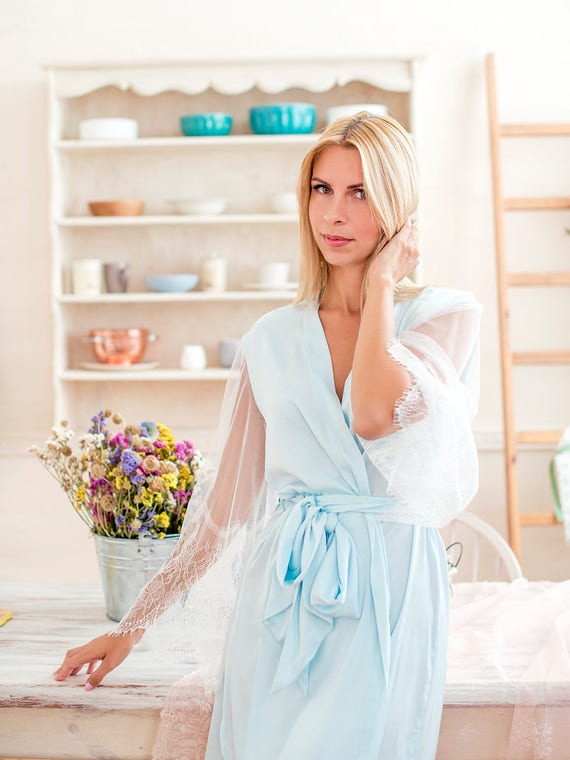 Blaue Braut Kimono / / kurze Hochzeits Gewand / / Frauen