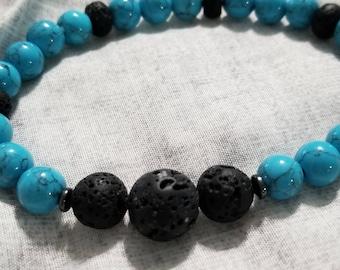 Essential Oil Diffuser Bracelet: Turquoise Howlite & Black Lava Stone Stone