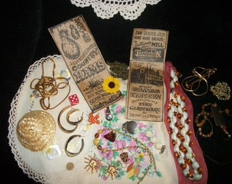 A DODADS Culture, JEWELRY Parts & Linens, Old Adds, Doll and Etc. 27  Goodies, As-Is Magic Lot, Reuse, Recycle, Remake