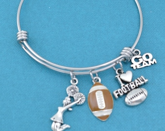 Football bangle bracelet in stainless steel.  Football gifts.  Football bracelet.  Football charm.  Football Cheerleader
